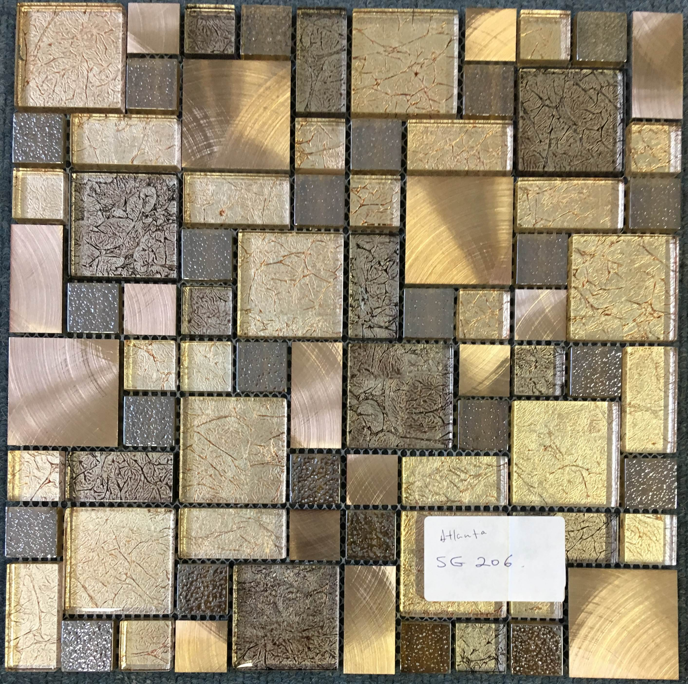 Gold And Bronze Glass And Metal Mosaic