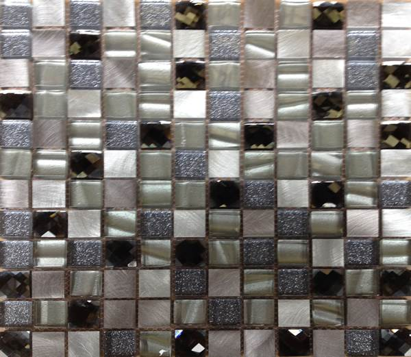 Champagne And Silver Glass And Metal Mosaic