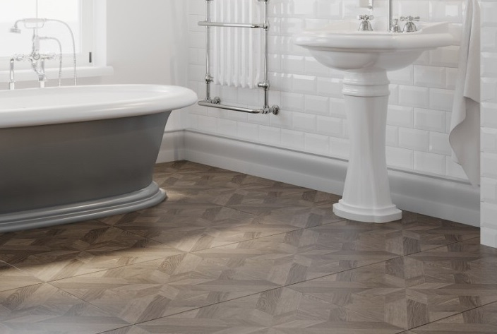 Dubrava Gloss Brown Parquet Effect Floor Tiles