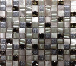 Cut Glass/Metal Mosaic Champagne Silver