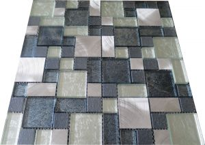Glass/Metal Modular Mosaic Champagne/Grey