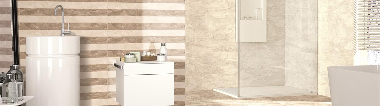 Deseo Noce and Bone Marble Effect Tiles
